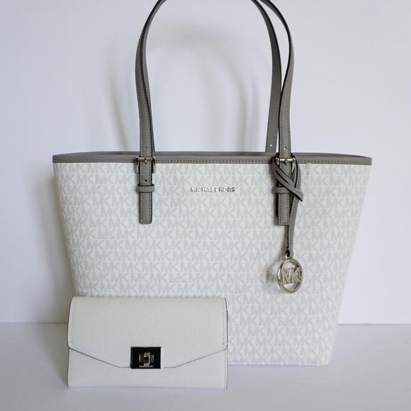 0d4d01b938ca6 Michael Kors Bags | Medium Tote Bag Wallet Set Mk White | Poshmark